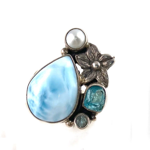 Larimar, Apatite Rough & Blue Topaz Sterling Silver Plumeria Ring - Keja Designs Jewelry