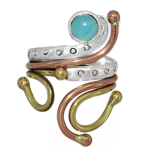 Aquamarine Three Tone Sterling Silver Adjustable Ring - Keja Designs Jewelry