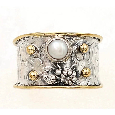 Pearl Sterling Silver Two Tone Floral Band Ring