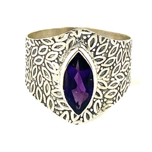 Amethyst Sterling Silver Vine Pattern Band Ring