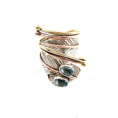 Blue Topaz Two Stone Adjustable Sterling Silver Wrap Ring - Keja Designs Jewelry
