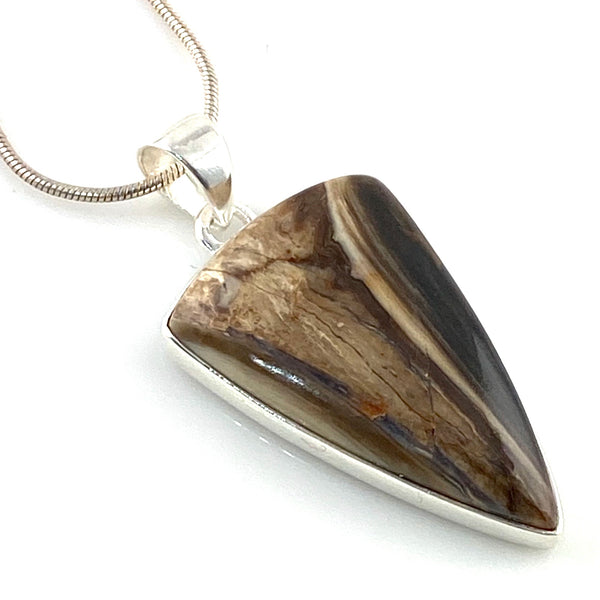 Petrified Wood Sterling Silver Pendant