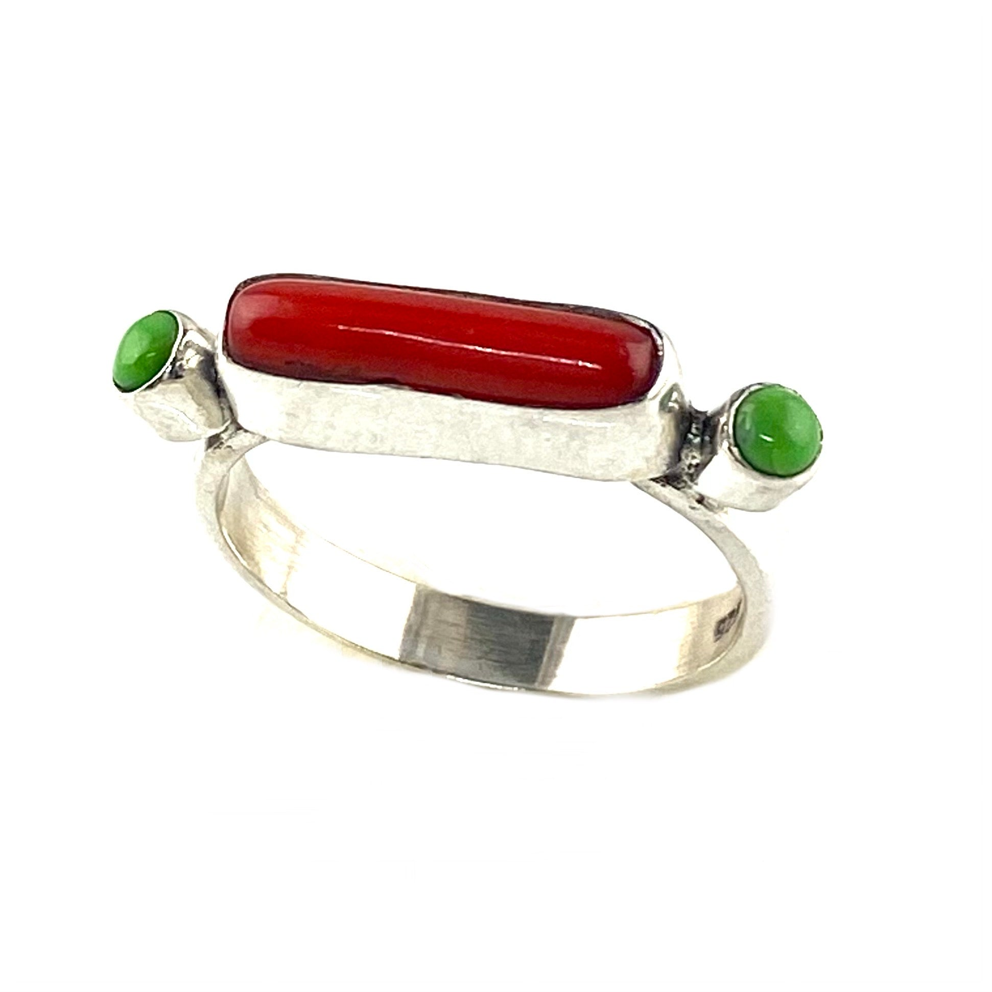 Green Turquoise & Coral Sterling Silver Ring
