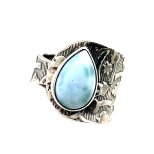 Larimar Sterling Silver pear Adjustable Ring - Keja Designs Jewelry