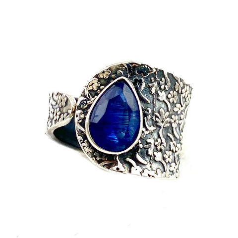 Kyanite Sterling Silver Adjustable Floral Pattern Ring - Keja Designs Jewelry