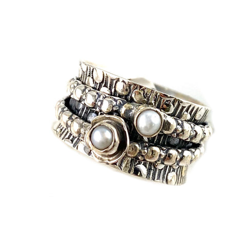 Spinner Ring - Sterling Silver Pearl - Keja Designs Jewelry