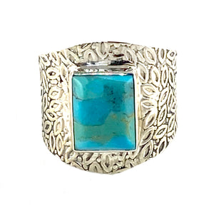 Mohave Turquoise Sterling Silver Vine Pattern Band Ring