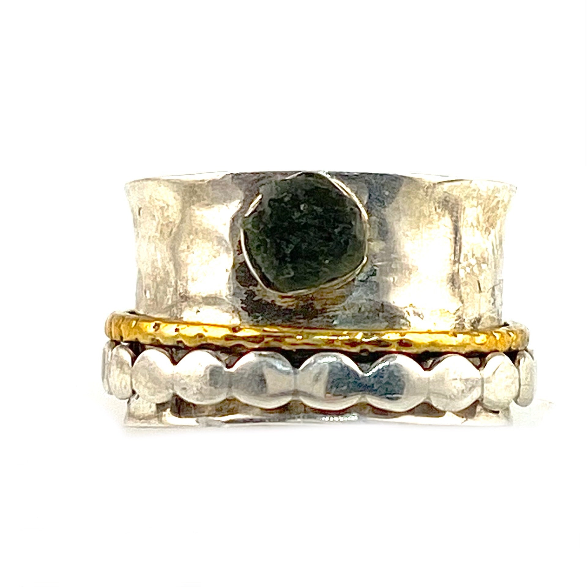 Spinner Ring - Two Tone Sterling Silver Moldavite Rough & Bronze