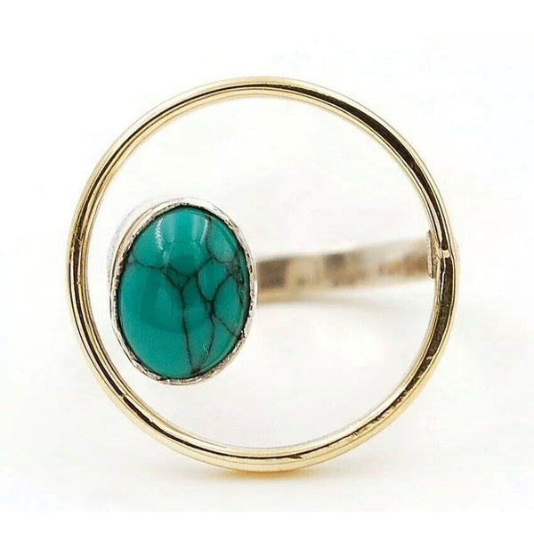Turquoise Sterling Silver Circle Ring - Keja Designs Jewelry