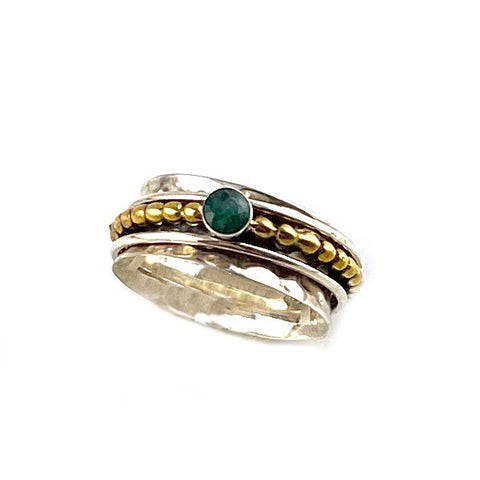 Spinner Ring - Two Tone Emerald - Keja Designs Jewelry