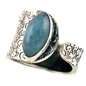 Aquamarine Sterling Silver Adjustable Floral Pattern Ring