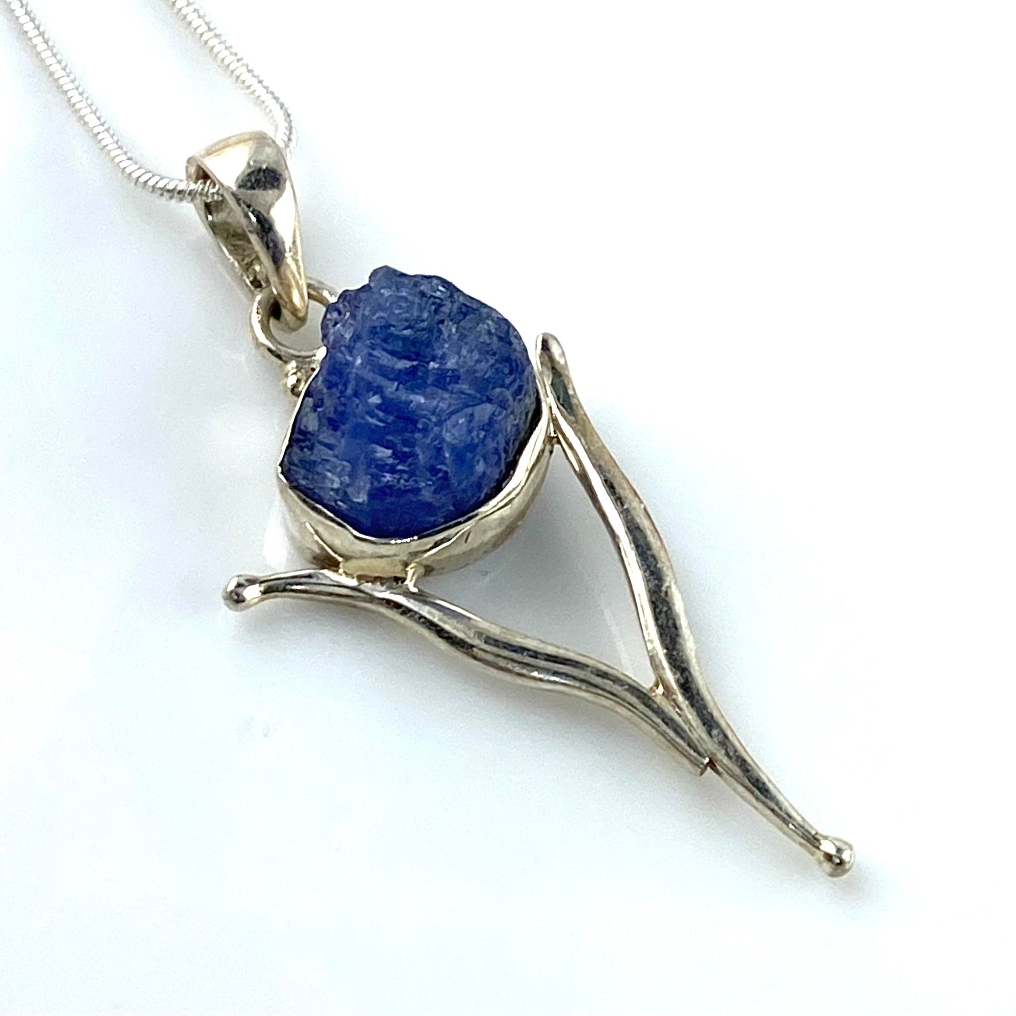 Tanzanite Rough Cut Sterling Silver Vortex Pendant
