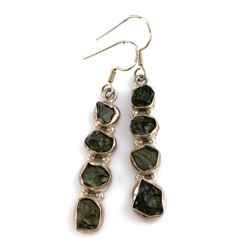 Moldavite Sterling Silver Line Earrings - Keja Designs Jewelry
