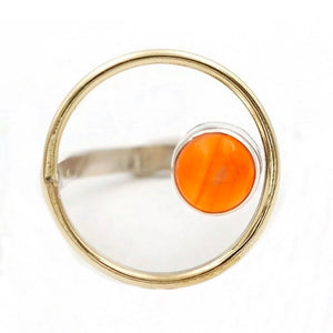 Carnelian Sterling Silver Circle Ring