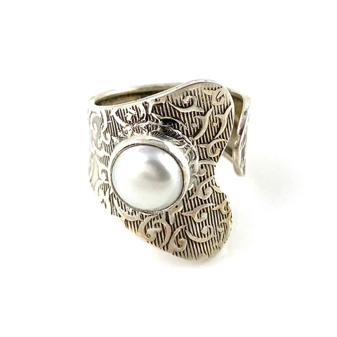 Pearl Sterling Silver Adjustable Wrap Ring - Keja Designs Jewelry