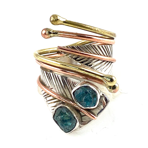 Neon Apatite Three Tone Sterling Silver Adjustable Wrap Ring - Keja Designs Jewelry