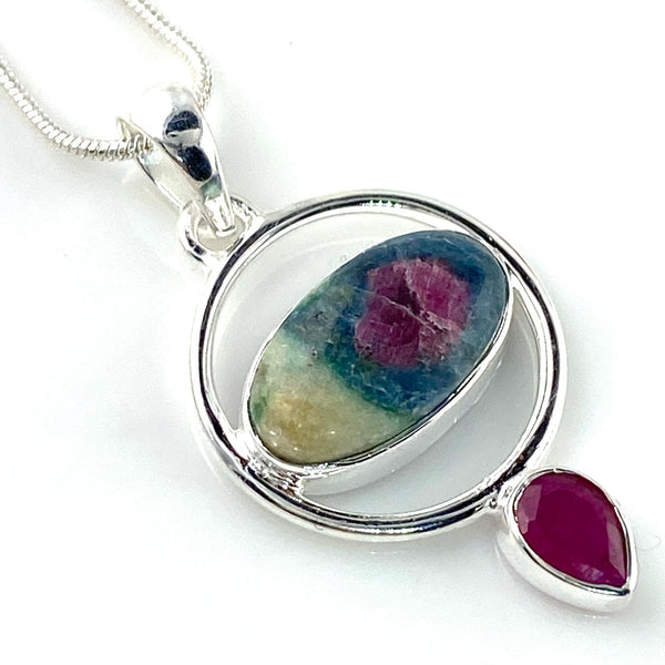 Ruby In Fuschite & Ruby Sterling Silver Oval Pendant