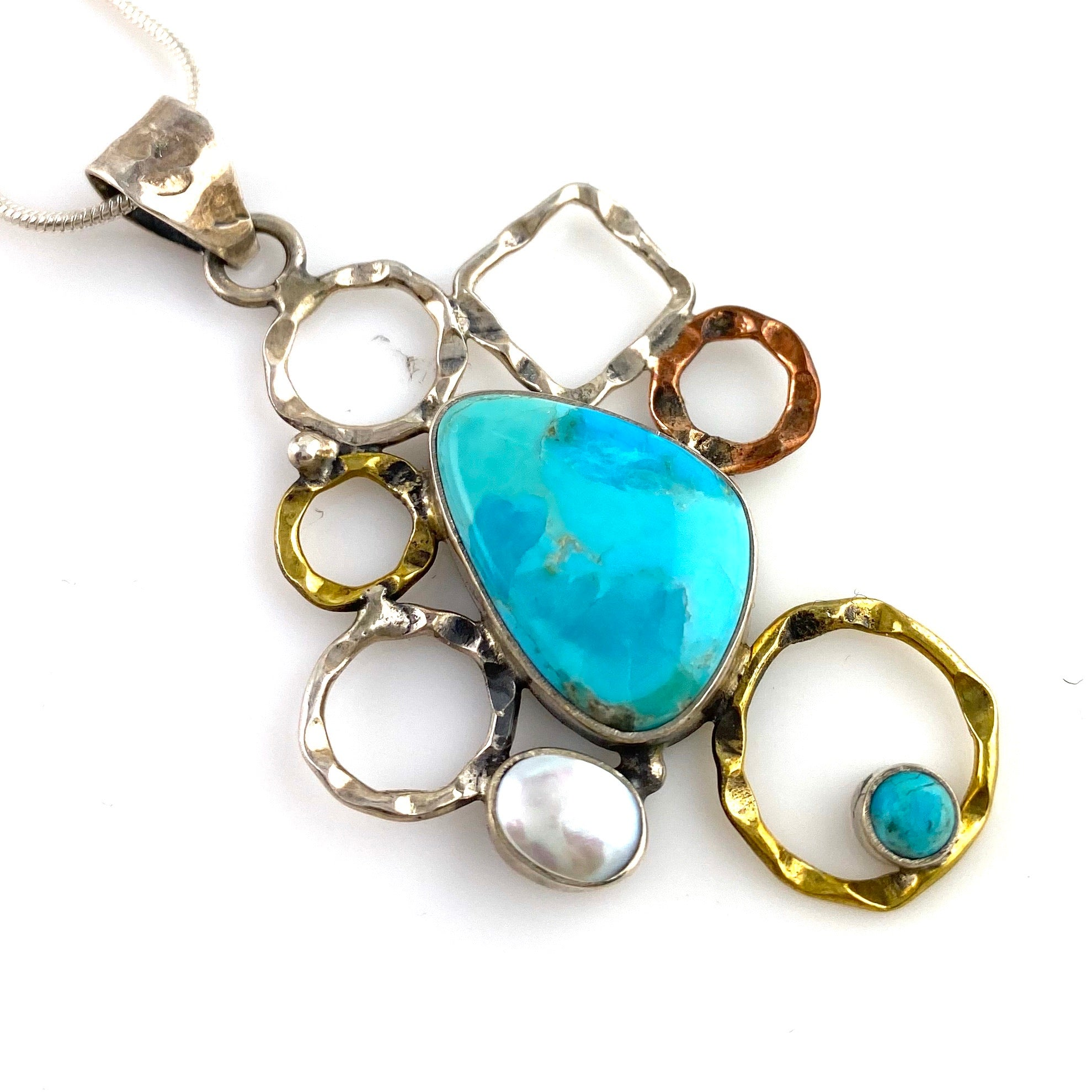Blue Turquoise & Pearl Sterling Silver Two Tone Shapes Pendant