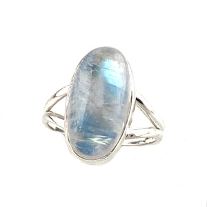 Rainbow Moonstone Sterling Silver Oval Ring