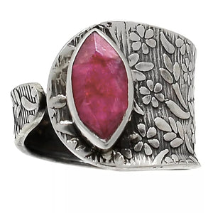Ruby Sterling Silver Adjustable Floral Pattern Ring - Keja Designs Jewelry