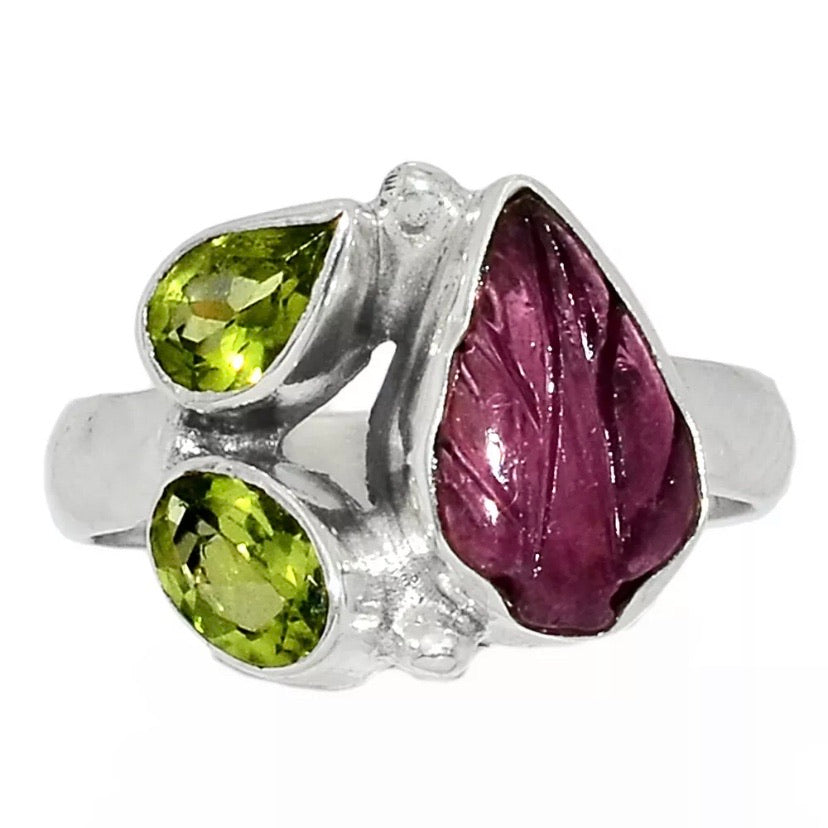 Carved Pink Tourmaline & Peridot Sterling Silver Ring