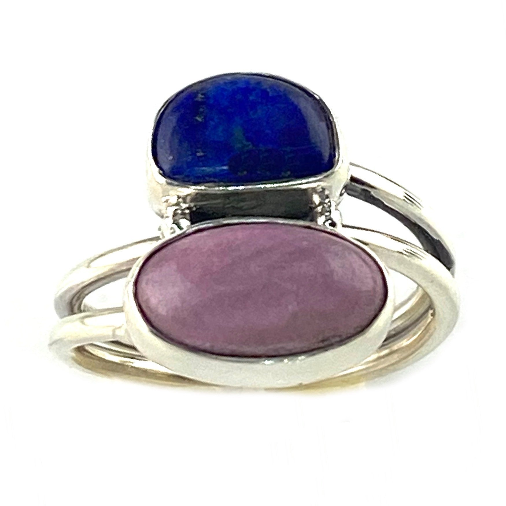 Lapis & Phosphosiderite Sterling Silver Two Stone Ring