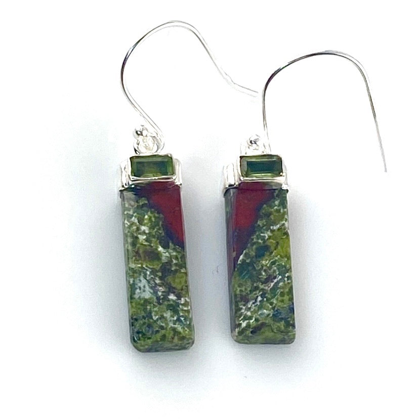 Dragon's Blood Jasper & Peridot Sterling Silver Earrings
