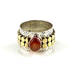 Sunstone Three Tone Sterling Silver Leaf Band Ring