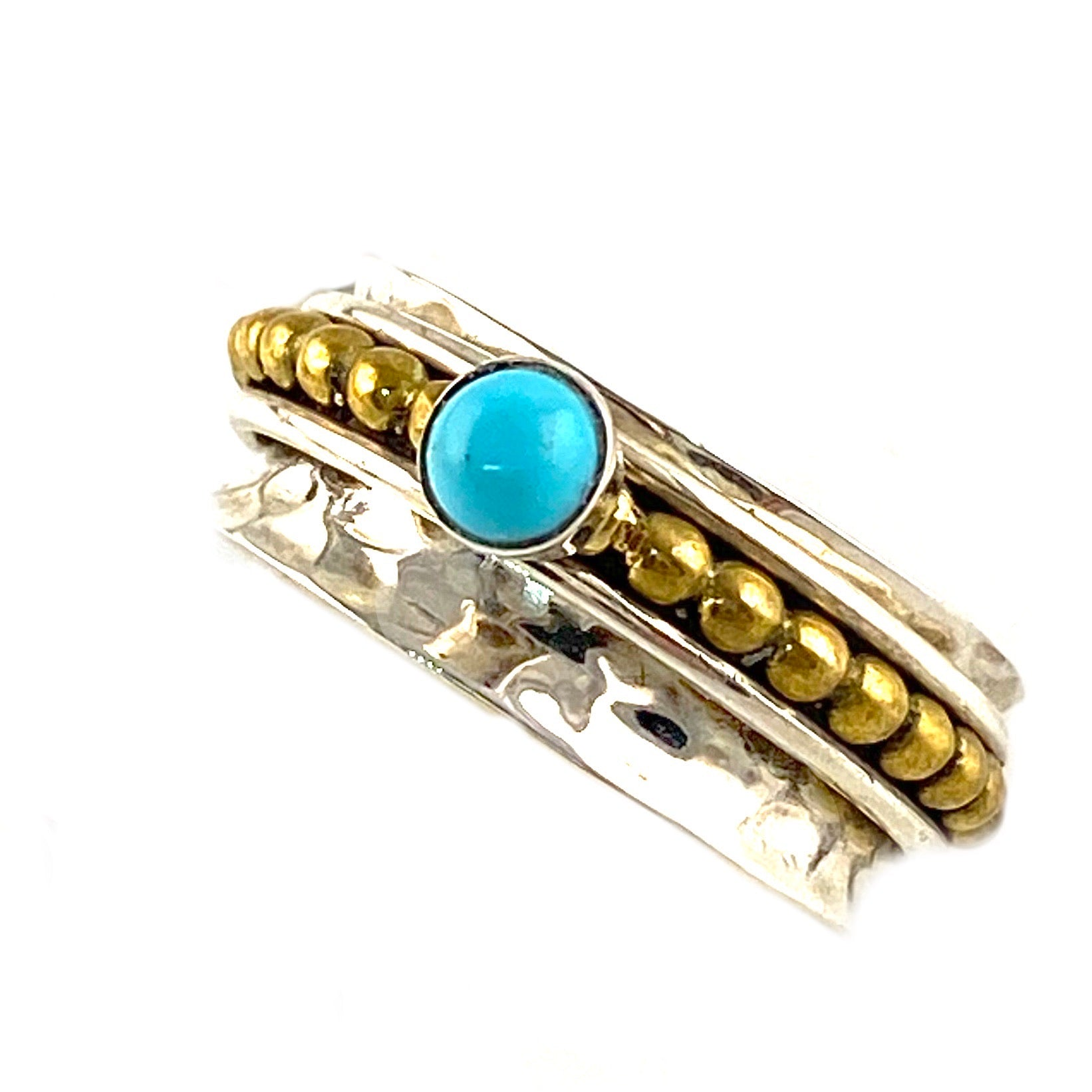 Spinner Ring - Two Tone Turquoise Ring