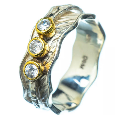 Spinner Ring - Two Tone Three Stone White Topaz Ring