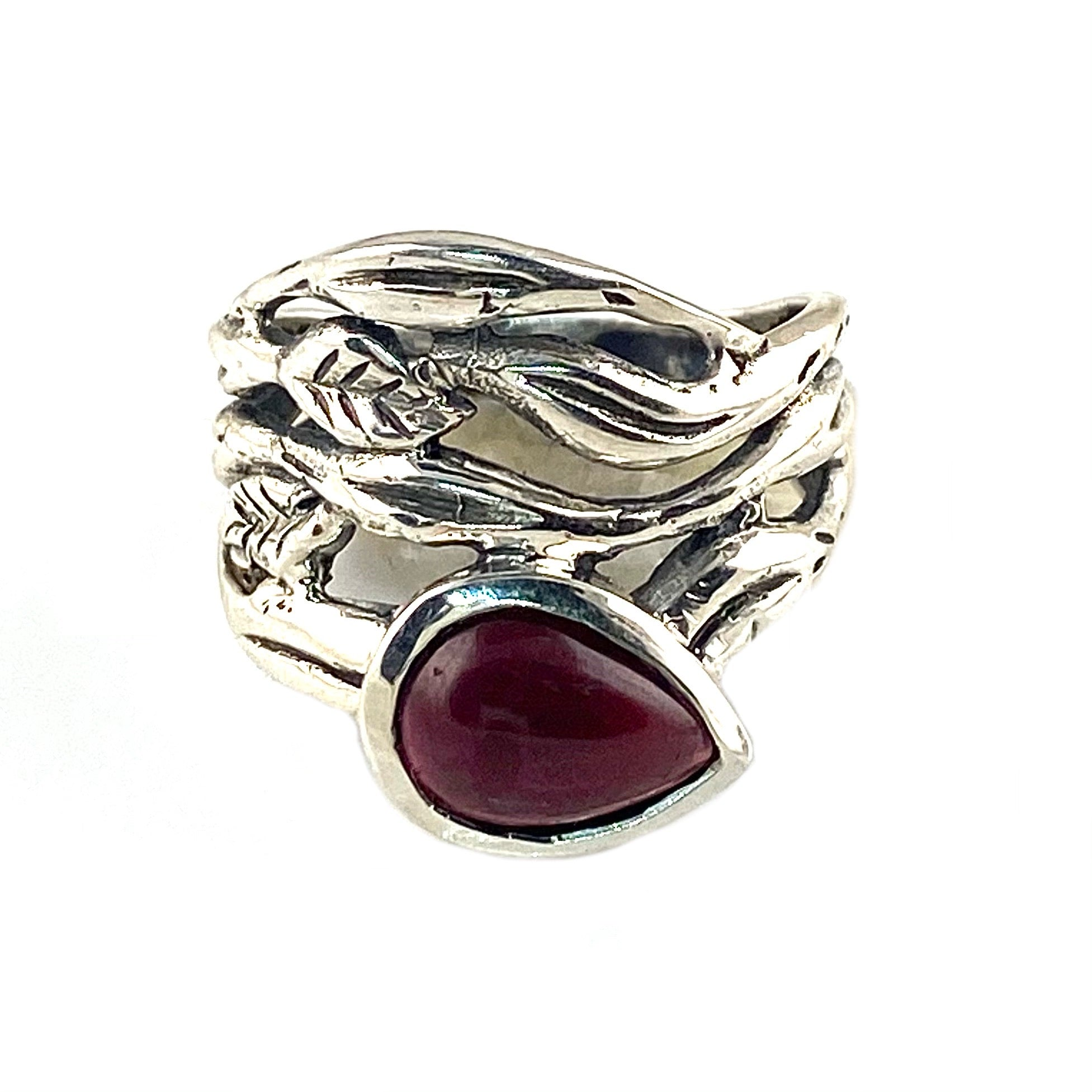 Garnet Sterling Silver Vine Ring