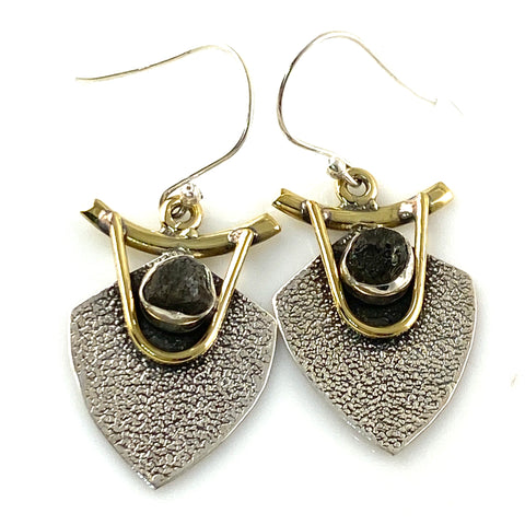Moldavite Sterling Silver Two Tone Earrings
