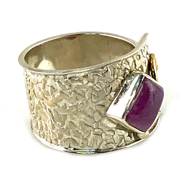 Tourmaline Two Tone Sterling Silver Confetti Adjustable  Ring