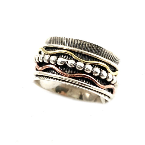 Spinner Ring - Three Tone Fancy Five Band Spinner - Keja Designs Jewelry