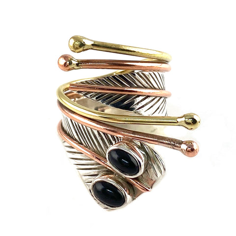 Black Onyx Double Stone Sterling Silver Adjustable Wrap Ring - Keja Designs Jewelry