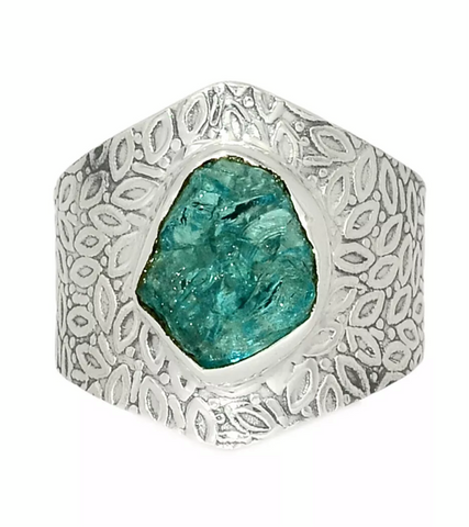 Aquamarine Rough Sterling Silver Vine Pattern Ring