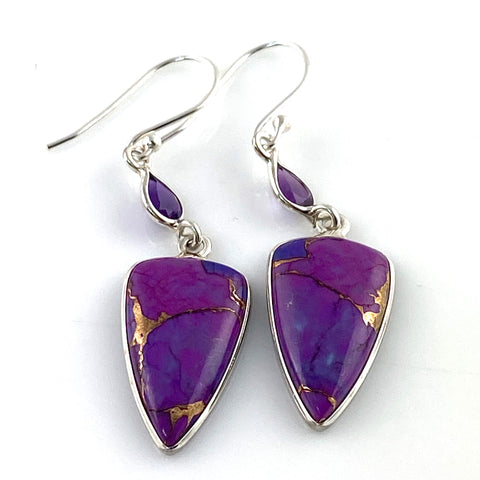 Amethyst & Purple Turquoise Sterling Silver Earrings
