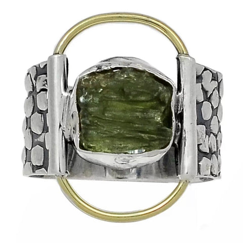 Moldavite Two Tone Sterling Silver Band Ring - Keja Designs Jewelry