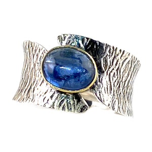 Kyanite Two Tone Sterling Silver Bridge Ring