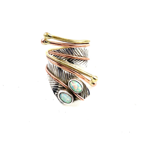 Fire Opal Sterling Silver Two Tone Adjustable Wrap Ring - Keja Designs Jewelry