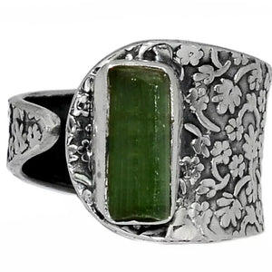 Tourmaline Sterling Silver Adjustable Floral Pattern Ring - Keja Designs Jewelry