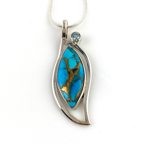 Blue Copper Turquoise Sterling Silver Blooming Jewel Pendant - Keja Designs Jewelry