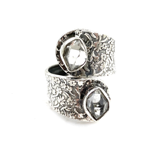 Herkimer Diamond Sterling Silver Vine Pattern Adjustable Ring - Keja Designs Jewelry