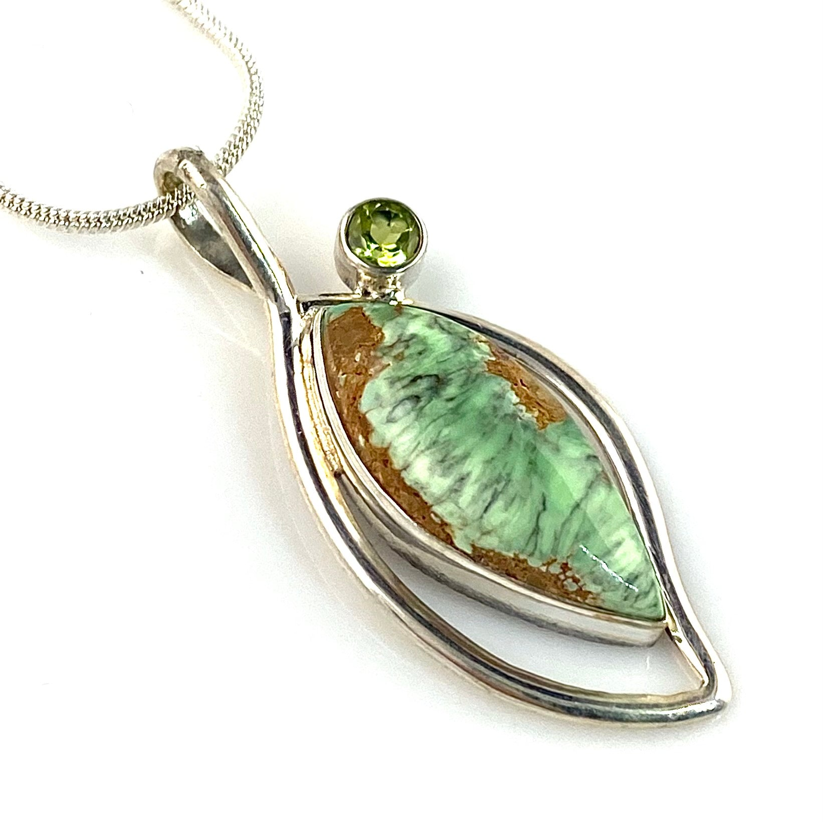 Variscite Sterling Silver Blooming Jewel Pendant
