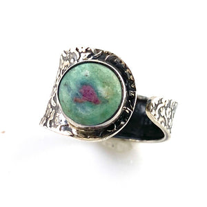 Ruby In Fuschite Sterling Silver Adjustable Floral Ring - Keja Designs Jewelry