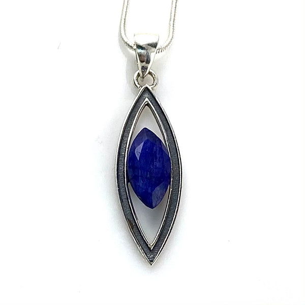 Sapphire Sterling Silver Marquise Pendant