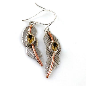 Citrine Sterling Silver Two Tone Leaf Earrings
