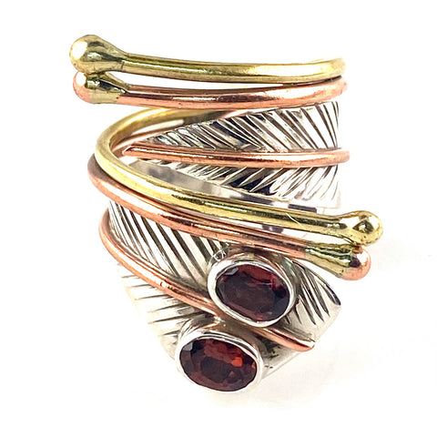 Garnet Two Stone Adjustable Sterling Silver Leaf Ring
