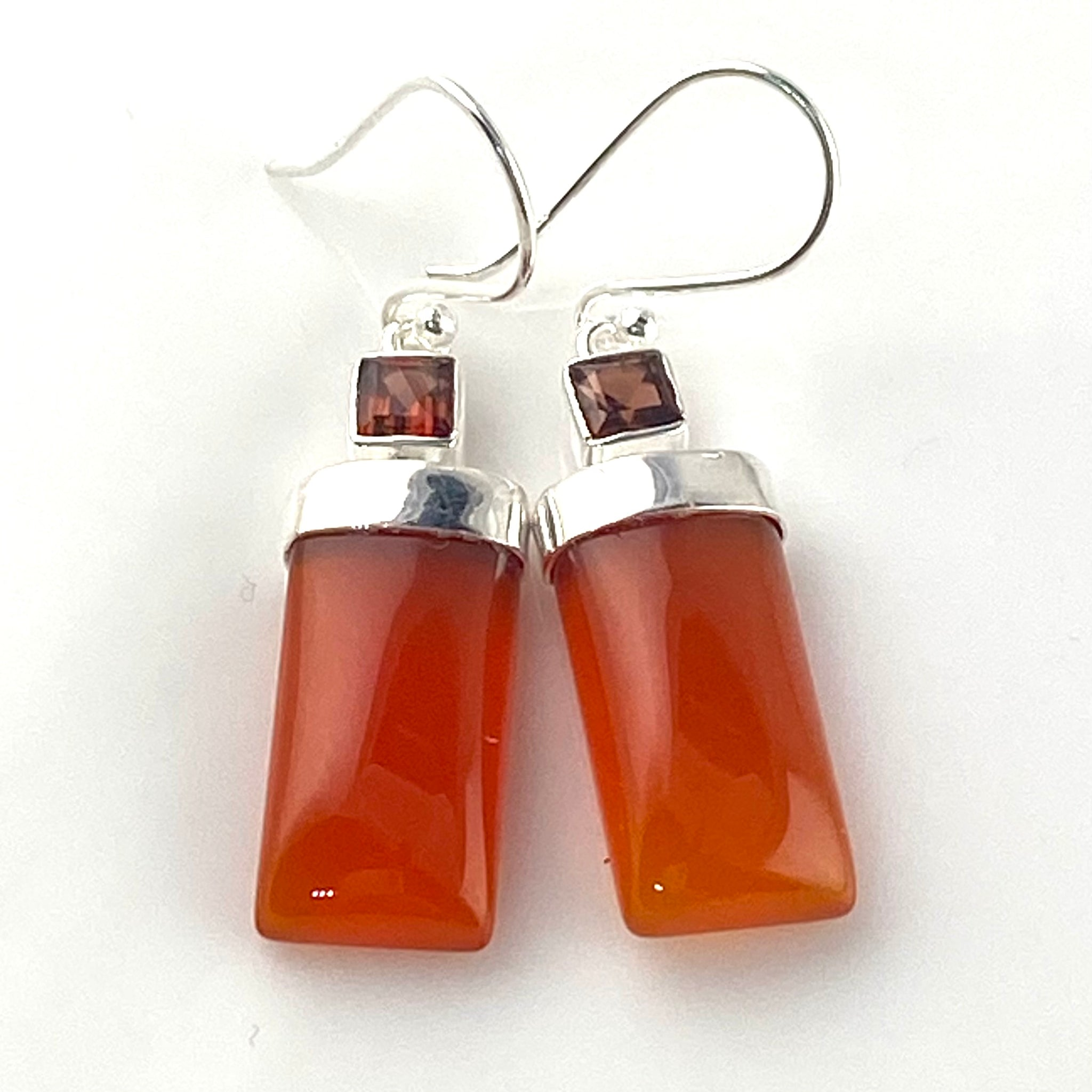Carnelian & Garnet Sterling Silver Rectangular Earrings