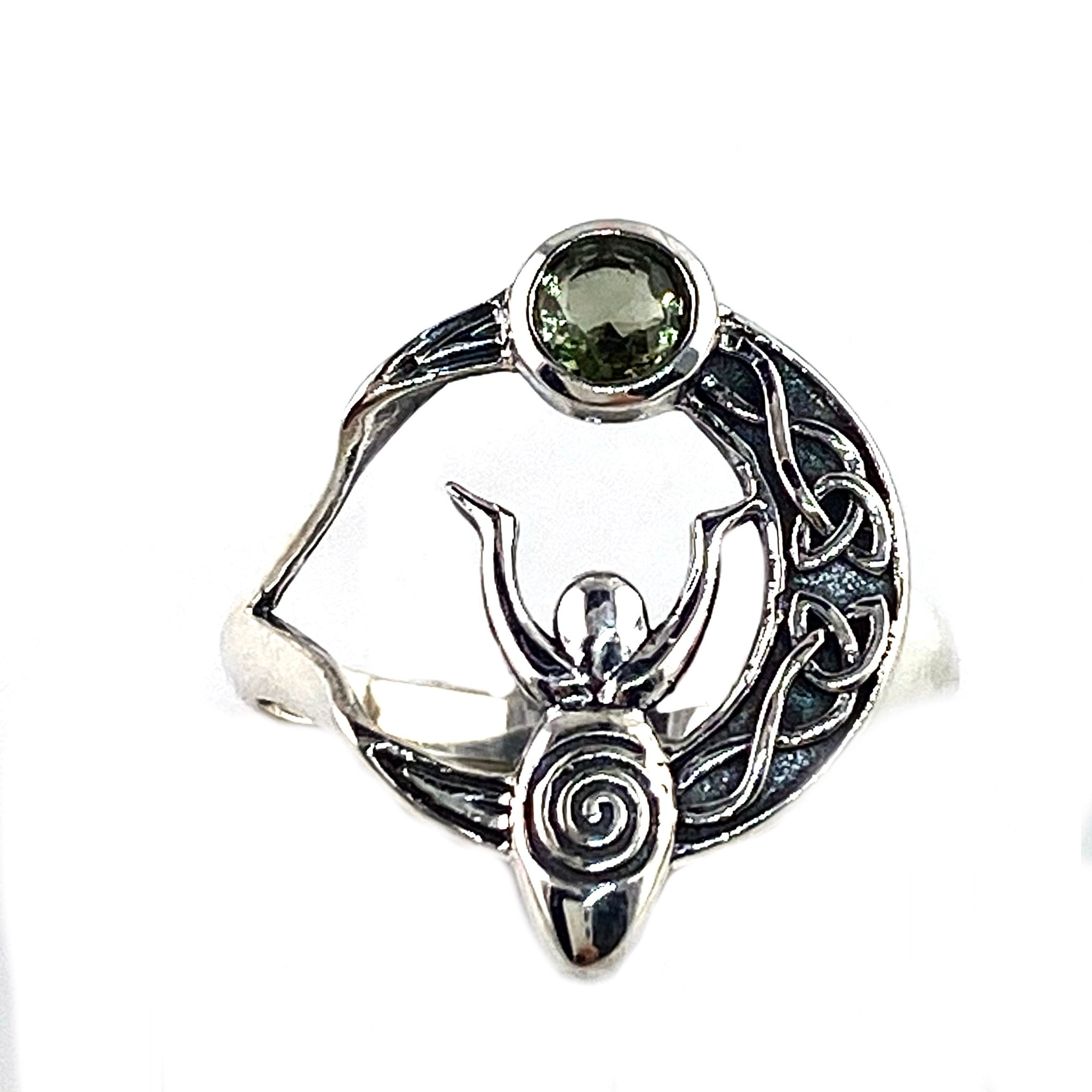 Faceted Moldavite Meteorite Sterling Silver Moon Goddess Ring